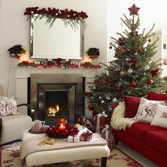 Wohnzimmer weihnachtlich dekorieren rot weiß weihnachtssterne