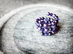 purple memory wire ring #christmasgift #womensjewelry #handmadejewelry #etsy #pearls