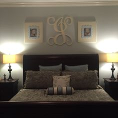 Monogram over bed