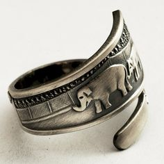 Spoon Ring Elephant Oregon Zoo Souvenir Sterling Silver Ring,