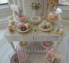Miniature Easter Cottage Bakery Table by CynthiasCottageShop
