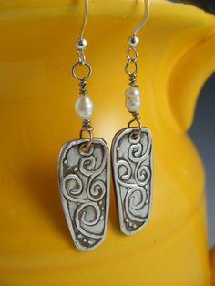 Swirling earrings by Barkingdoggallery on Etsy, $38.00