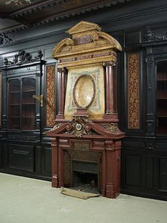 Rare Napoleon III paneled room in blackened wood with its monumental fireplace in stucco in imitation of porphyry (Reference - Available at Gallery Marc Maison Napoleon Iii, Second Empire, Architectural Antiques, Empire Style, Acanthus, Art Decor, Decoration, Wood Paneling, Interior Decorating
