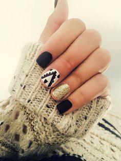 Gelish nails black