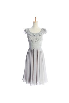 Straps A-line with ruffle embellishment chiffon bridesmaid dress (5% off discount)