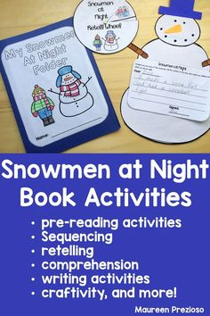 These Snowmen at Night Read Aloud activities will keep prep, kindergarten, or first grade students engaged while practicing important skills such as sequencing, vocabulary, comprehension, writing, and retelling.  Also includes a fun creativity!