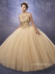 Elegant and beautiful, you'll love wearing Mary's Bridal Princess Collection Quinceanera Dress Style 4Q496 at your Sweet 15 party or at any formal event. Sparkling tulle quinceanera ball gown with a scoop neck bodice embellished with embroidery, basque waist line, and back with opening and lace-up closure. Colors: Gold, Pink, Wine, or White Please allow 4 - 5 months for delivery because Mary's Bridal Quinceanera dresses are made-to-order. If you want to put this ball gown on Lay...