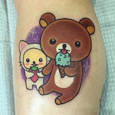 TAG A FRIEND WHO LIKES CUTE TATTOOS! Prob the most Kawaii tattoo I have ever seen. Lol so stoked to have done a Rilakkuma tattoo. Everyone knows I how much I love Japanese culture. I wanna do more of these! To get tattooed by me book on RomeoLacoste.com by romeolacoste