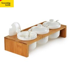 Set of 4 Ceramic Seasoning Rack Spice Pots Bowls With Spoon & Porcelain Box and Bamboo Cover - Storage Container Condiment Jars
