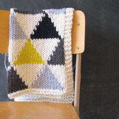 Knitted Triangle Pattern Baby Blanket in Grey/Black/Neon Yellow for Bassinet, Stroller, or Car Seat. $85,00, via Etsy.
