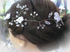 wedding hair vine Bridal headpiece Tiara halo crown