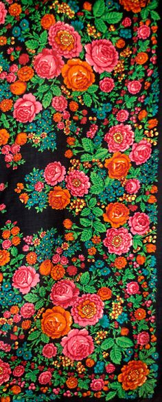 Russian wool shawl, black with pink and orange roses and rowan berries, folk…