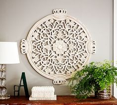 "FLORAL WALL MEDALLION 32"" http://www.potterybarn.com Above the fridge"