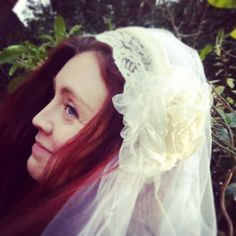 Vintage Bespoke Bridal Ivory Headress made with by TeacupsandRosie, £40.00