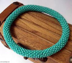 Beaded bracelet  Beaded Crochet Bracelet Green by NazoDesign, $10.00