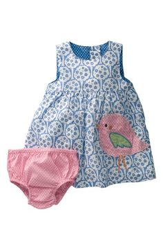 Bird pinafore with matching knickers
