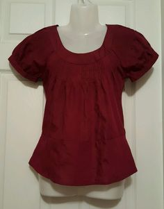 The LIMITED Short Sleeve Career Shirt Blouse Work Office Maroon Size XS #TheLIMITED #Blouse #WeartoWork