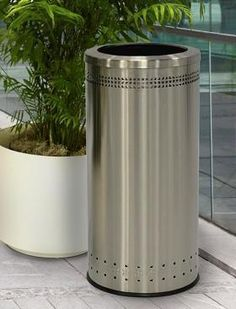 excell landscape series perforated 40 gallon trash receptacle park trash cans pinterest parks metals and landscapes