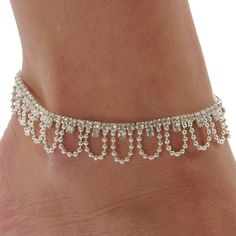 Would wear on the beach vacas w summer clothing and swimwear. Rhinestone Drape Stretch Anklet Bracelet Austrian Crystal Silver Tone Ankle Clear