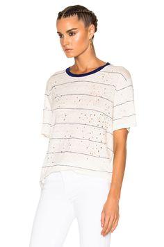 Image 2 of IRO Hadith Tee Shirt in Blue & White