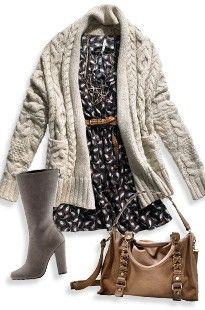 Print dress, chunky sweater, grey boots