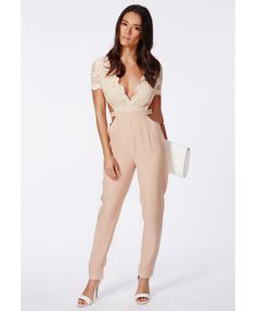 47162bb51b0 Missguided Zela Nude Lace Top Cut Out Jumpsuit in Beige (nude)