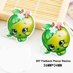 50pcs/lot Cartoon Shopping Green Apple Resin Flatback for Hair Bows Kawaii Planar Resin Crafts for DIY Phone Decorations
