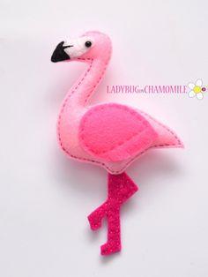 Felt FLAMINGO stuffed felt Flamingo magnet or ornament cute