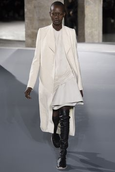 """Rick Owens, Look #8  Backstage today at his show, which he named Mastodon, Owens spoke of his uneasiness about environmental change. """"Mastodons don't exist anymore, as we won't,"""" he said. """"Maybe there's an acceptance level we should look for."""""""