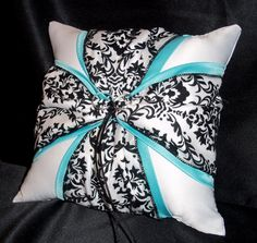 Use coupon code PINITFREESHIP for FREE shipping! DAMASK Black and White & Turquoise Aqua Pool Blue Wedding Ring Bearer Pillow  by Jessicasdaydream