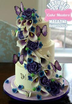purple sugar flowers cascade wedding cake, featured in Cake Masters magazine!