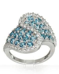 Ö.1200 Ring 925er Silber rhodiniert Blautopas Weißtopas RW18 de.picclick.com