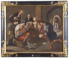 """Gaspare Traversi (Napoli 1722-1770) """"Interno di osteria"""" olio su tela cm 60,5 x 74"""