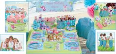 magical mermaids birthday party - beautiful mermaids surface to attend this magical party. they'll discover a sand castle cake, shimmering prismatic tableware and seashell chair covers. magical accessories and favor-filled boxes are sure to delight one and all.