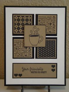 handmade card from CREATING with COLOR by CASSANDRA  ... classic look ... krat paper stamped with dark brown and matted in black ... coffee theme  .... the the square background patterns including one in a coffee theme ...