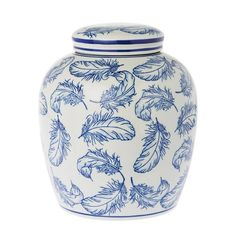 Riverdale opbergpot Feather, Blauw/wit