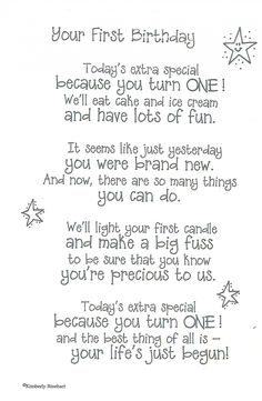 Need Happy Birthday Poems for your husband, wife, brother or sister? Find funny, short happy birthday poems for your friend, mom or daughter right here. 1st Birthday Quotes, Birthday Verses, Baby 1st Birthday, First Birthday Parties, Happy 1st Birthday Wishes, 1st Birthday Cards, 1st Birthday Message, Birthday Sentiments, 1st Birthday Presents For Boys