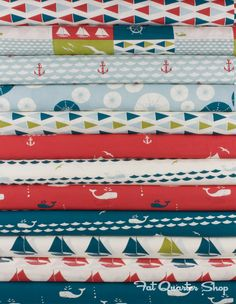 Set Sail for Birch Fabrics Boys Nautical Bedroom, Nautical Quilt, Ocean Quilt, Nautical Nursery Decor, Fat Quarter Shop, Set Sail, Quilting Ideas, Baby Quilts, Aunt