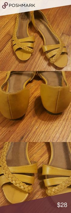 Mustard flats Pre-loved. Braided side strap. Leather. Rubber sole. Sold as is. Life Stride Shoes Flats & Loafers