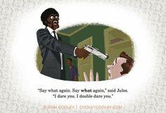 Pulp Fiction ilustrado por un artista de Pixar