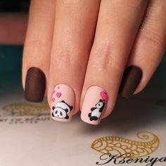 Pandas adorables D Rose Nail Art, Rose Nails, Flower Nails, Gel Nails, Manicure And Pedicure, Nail Drawing, Panda Drawing, Nail Swag, Stylish Nails