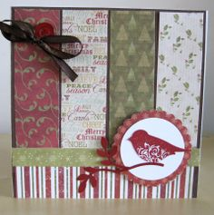 Christmas card with dovecraft papers, vintage / traditional, Stampin' Up bird and stamp punch, by tylluan