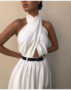 Women Boho Bohemian White Maxi Jumpsuit Halter Casual Bandage Party Jumpsuit Elegant Backless A Line Long Jumpsuit Look Fashion, Fashion Outfits, Womens Fashion, Sexy Fashion Style, Fashion Ideas, Classy Fashion, Fasion, Fashion Styles, Daily Fashion