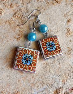 Portugal Antique Orange Tile Earrings Replicas from OVAR  by Atrio