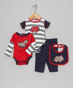 Take a look at this Navy & Red 'Feed Me' Bodysuit Set by Duck Duck Goose on #zulily today!