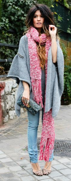 poncho + scarf + clutch/love this