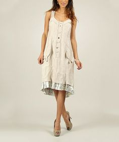 Look what I found on #zulily! Sand Smocked Sleeveless Dress by Fred Sabatier #zulilyfinds