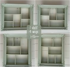 I love the color of this repurposed picture frame into a shadow box with cubbies. You can hang it vertically or horizontally. How clever.