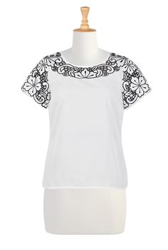 Floral Cutout Embellishment Poplin Tops, White And Black Scoop Neck Back Zip Tops Womens Fashion Clothing - Fashion Tops - Shop for Fashion Tops - | eShakti