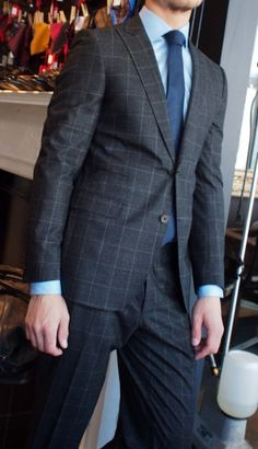 Tombolini dark grey glen check suit $895 from Gotstyle Menswear.